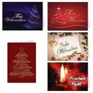 5er Set Weihnachtskarten Frohe Weihnachten - 5 verschiedene Motive, mit Umschlag