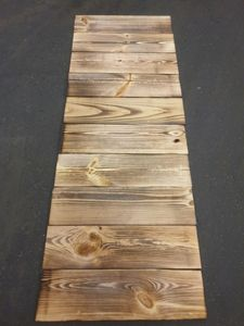 10 Stück neue breite geflammte Holzbretter König 12,5 x 48cm aus Nadelholz