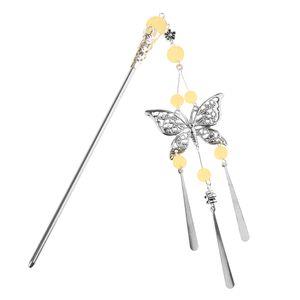 Schmetterlings Haar Stock Hochzeits Braut Kopfschmuck Quasten Haarspange Headwear Haarnadel Farbe Hellgelb