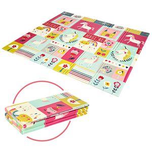 COSTWAY Baby Spielmatte faltbar, Babymatte doppelseitig, Krabbelmatte aus XPE Material, Krabbeldecke, Spielteppich für Babys, Säuglinge und Kleinkinder, 200 x 180 cm Rosa