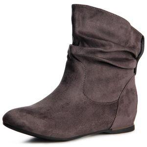 topschuhe24 887 Damen Keilabsatz Stiefeletten Boots Booties, Farbe:Grau, Größe:37 EU