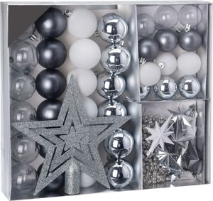Weihnachtskugeln SHATTERproof 45 PCS - Farbe: Silber