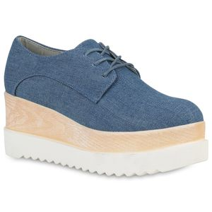 Mytrendshoe Damen Plateauschuhe Denim Halbschuhe Wedges Keilabsatz Schuhe 819423, Farbe: Hellblau, Größe: 37