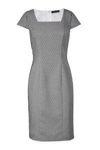 Patrizia Dini Damen Designer-Jaquardkleid, ecru-schwarz, Größe:38