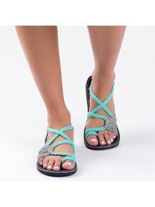 Abtel Damenmode Flache Sandalen Einfarbige Outdoor-Schuhe Mit Offenen Zehen,Farbe:Blaugrün,Größe:37