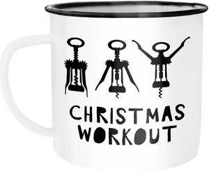 Emaille Tasse Becher Christmas Workout Flaschenöffner Korkenzieher Weihnachten lustig Weihnachtstasse Moonworks® weiß-schwarz unisize