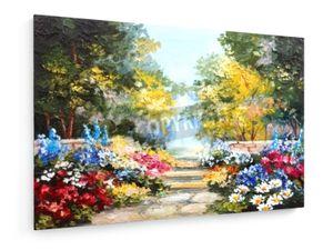 Ölgemälde einer Landschaft - Bunter Sommer-Wald mit schönen Blumen - 60x40cm - Leinwandbild auf Keilrahmen - weewado - Wandbilder - Kunst, Gemälde, Fotografie - Landschaft