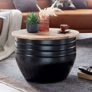 WOHNLING Couchtisch Mango Holz Metall 60x41x60 cm Industrial Style Rund | Design Wohnzimmertisch mit Stauraum | Moderner Loungetisch Sofatisch Schwarz