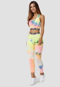 Damen Fitness Zweiteiler   Super Stretch Trainings Anzug   Racerback Tank Top & Leggings Pants Yoga Holi Set, Farben:Gelb, Größe:S-M