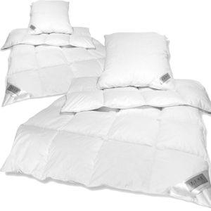 Bettenset Comfort 4tlg - 2x Federn Daunen Bettdecke 135x200 cm und 2x Kopfkissen 80x80 cm
