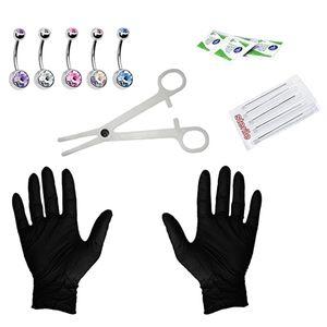 1 Set Körperschmuckset Bauchnabel Ring Edelstahlschmuck Ohr-Nabel-Nadeln Set