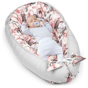 Babynest Kokon Neugeborene 90x50 Handmade Babynestchen Kuschelnest Baby Nest Nestchen Babybett Liegekissen Rose - Graue Baumwolle