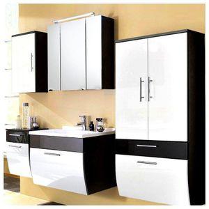 Badezimmer-Set TALONA-02 Hochglanz weiß, anthrazit 70cm Waschtisch inkl. Becken (5-teilig), B x H x T ca.: 220 x 200 x 49,5 cm