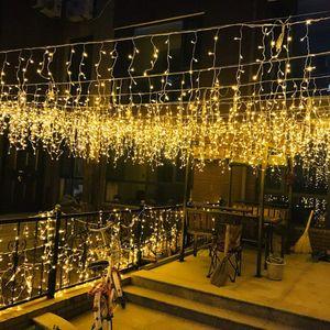 10m LED Lichtervorhang Lichterkette Lichternetz Eisregen Xmas Party warmweiß