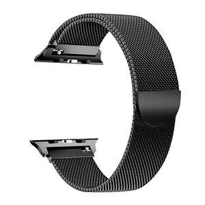 Austauschbares Edelstahl-Armband Milanese Magnetic Buckle Armband Kompatibel mit Apple Watch 2/3/4/5/6 / se 42/44 mm Schwarz