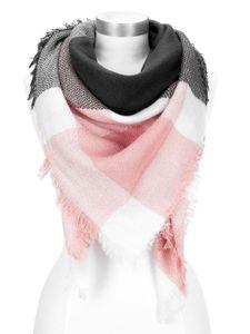 Damen Strickschal kariert Karo XXL Wollschal Oversized Winterschal Autiga® rosa-anthrazit
