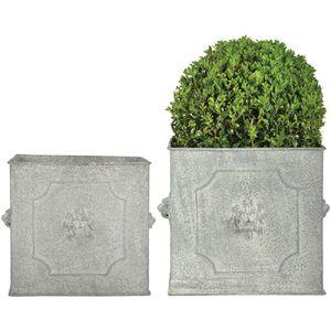 Retro Blumenkübel Set mit Löwenköpfen, Pflanzen Kübel Set Quadratisch