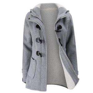 Frauen halten warm Windbreaker Outwear warme Wolle Slim Long Coat Jacke Trench Größe:S,Farbe:Grau