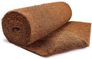 Kokosmatte aus 100% Kokosfasern - 100cm x 5m Rolle Anzuchtmatte mit Latex - Winterschutz und Kälteschutz für Pflanzen - Baumschutz Meterware Naturprodukt