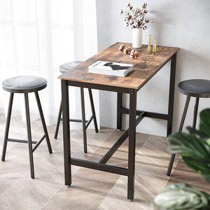 VASAGLE Bartisch aus Holz und Metall 120 x 60 x 90 cm stabiler Stehtisch einfache Montage Tisch für Cocktails Holzoptik Küchentisch Vintage LBT91X