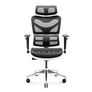 Diablo V-Commander Ergonomischer Bürostuhl Schreibtischstuhl Chefsessel 3D Armlehnen Lendenwirbelstütze Verstellbare Kopfstütze & Sitzfläche Netzstoff Belastbarkeit Bis 200 KG (weiß-schwarz)