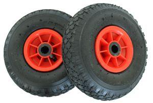 2x Sackkarrenrad 3.00-4 260x85 Bollerwagenrad Luftrad Ersatzrad 4PR mit Kugellager