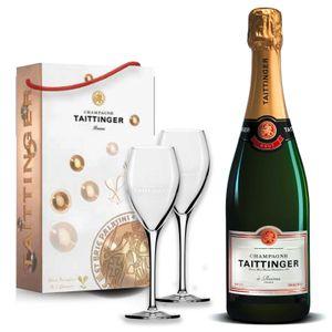 Taittinger Champagner 0,75l Brut Réserve mit zwei Gläser