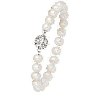 JOBO Armband Süßwasser Perlen 925 Sterling Silber Zirkonia 20 cm Magnetverschluss