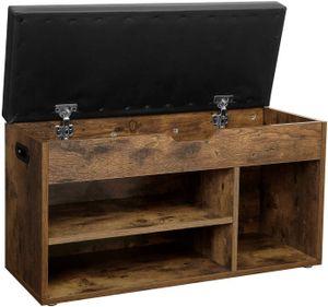 VASAGLE Schuhbank mit 3 Fächern | Sitzbank 80 x 30 x 44 cm | gepolstert bis 150 kg belastbar | Stauraum unter der Sitzfläche Vintage dunkelbraun LHS30BX
