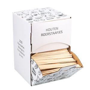 Rührstäbchen Holz in Spenderbox 11cm (2000)