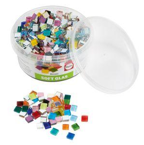 "Softglas-Mosaiksteine ""Bunter Mix"", 500 g, ca. 525 Stück, 1x1 cm"