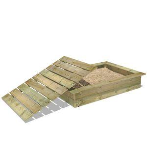 WICKEY King Kong 120 x 165 cm Sandkasten mit Deckel Sandkiste mit Sitzbank Garten Kinder Buddelkiste