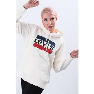 LEVI´S Graphic Sport Hoodie Damen Sweatshirt Cremefarben / Beige, Größe:XS