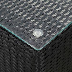 Beistelltisch Couchtisch Sofatisch mit Glasplatte Schwarz 35x35x52 cm Poly Rattan