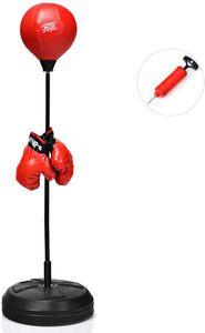 COSTWAY Punchingball 120-154cm hoehenverstellbar, Standboxball freistehend, Boxsack Set, Boxset, Box Set inkl. Boxhandschuhe und Handpumpe, Geeignet fuer Erwachsene, Jungen und Maedchen ab 8 Jahren