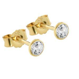 Paar 4mm Ohrstecker Gelbgold 375 Gold Ohrringe 9 Karat Zirkonia weiß kelch 2605