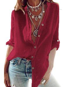 Damen lässig V-Ausschnitt Bluse Langarm geknöpft Hemd plus Größe,Farbe: Rot,Größe:XL