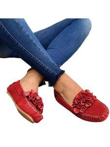 Damen Suede Loafers Flats Fahren Mokassins Pumps Freizeitschuhe Slip On,Farbe: rot,Größe:41