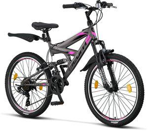 Licorne Bike Strong V Premium Mountainbike in 24 und 26 Zoll - Fahrrad für Jungen, Mädchen, Damen und Herren - Shimano 21 Gang-Schaltung - Vollfederung, Farbe:Anthrazit/Rosa, Zoll:24