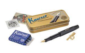 Geschenkset Kaweco Sport Classic Füllhalter schwarz, M-Feder, Patronen und Clip