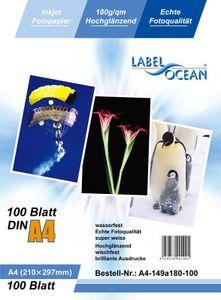 100 Blatt A4 180g/qm LabelOcean Premium Fotopapier  Highglossy hochglänzend