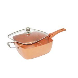 Starlyf® Square Copper 28cm x 28cm abnehmbarer Griff - quadratische tiefe Pfanne - Backofen geeignet Kupferpartikel -  Keramik-technologie mit Antihaftwirkung, mit Glasdeckel aus der TV Werbung
