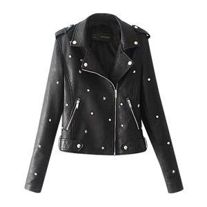 Lässige einfarbige Lederjacke mit langem Revers und Reißverschluss für Damen Größe:L,Farbe:Schwarz