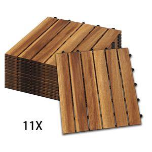 Hengda Holzfliesen 11-er Kachel Set ,1m2, geeignet als Terrassenfliesen und Balkonfliesen, aus Akazien Holz , 30x30 cm, fuer Garten Terrasse Balkon