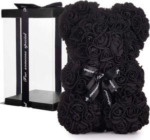 BRUBAKER Rosenbär Blumenbär mit Schleife 25 cm - Blumen Geschenk zum Valentinstag Jahrestag Geburtstag Hochzeit - Geschenkbox inklusive - Schwarz