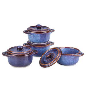 Vancasso Serie Capri Auflaufform aus Steinzeug, 4 teilige Muffins Förmchen Set mit Deckel, Backform mit Glasur für Soufflé, creme brulee, Aufläufen, Fondants, Desserts, blau