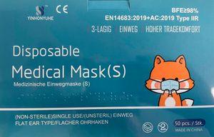 50 Stück Kinder OP Masken Mundschutz medizinisch Typ IIR in Blau