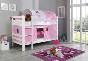 Relita Etagenbett BENI Buche massiv weiß lackiert mit Textilset rosa/weiß/herz; BE3001117-B90+TX5042025+TX5082025