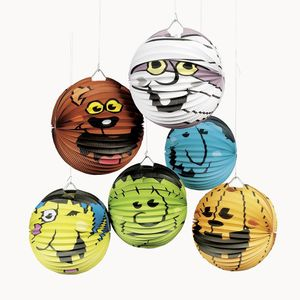Kinder Laterne aus Papier Laternenstäbe Zuglaterne St Martin Halloween Deko Monster 6 Motive 6 Stück