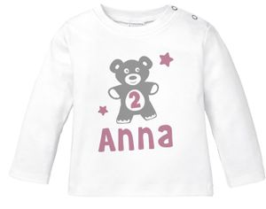 personalisiertes Baby Langarm-Shirt mit Namen Teddy-Bär Zahl 1 | 2 Geburtstagsshirt Junge/Mädchen SpecialMe® Mädchen 2 Jahre weiß 92/98 (16-24-Monate)